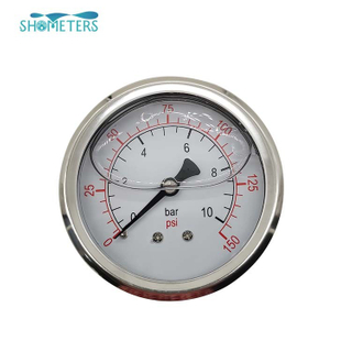 40mm shockproof water pipe oil filled pressure gauge